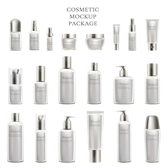 Maquete de cosméticos pacote conjunto de frascos de cosméticos