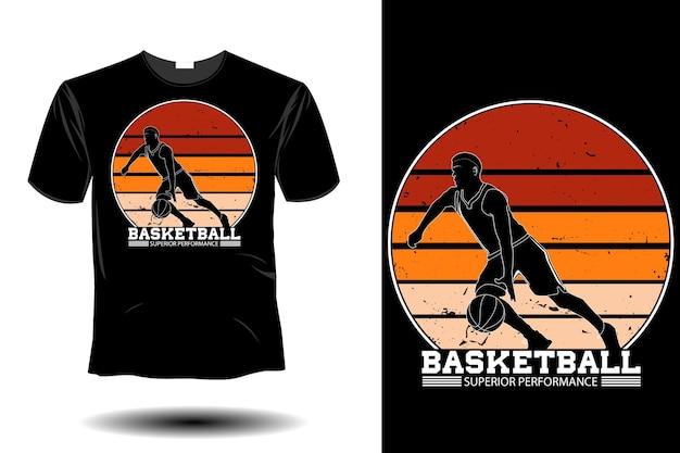 Maquete de desempenho superior do basquete com design retro vintage