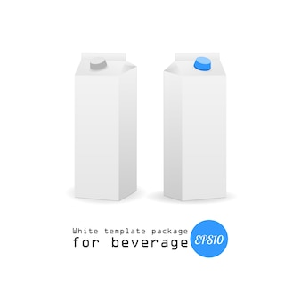 Maquete de design de caixa de papel de leite no fundo branco