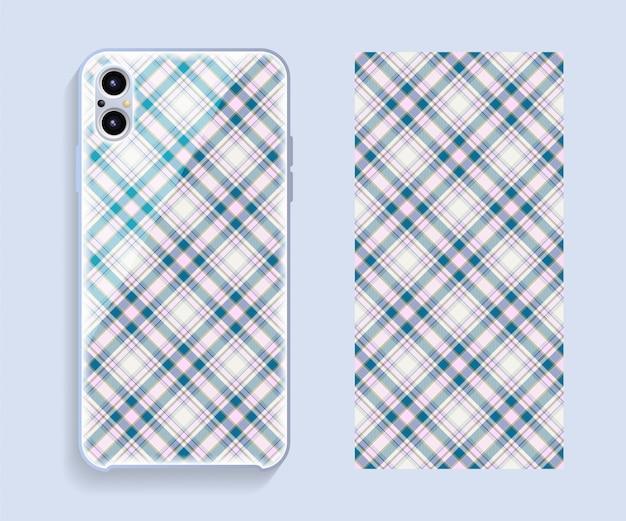 Maquete de design de capa de smartphone. padrão geométrico de modelo para parte traseira do telefone móvel. design plano.