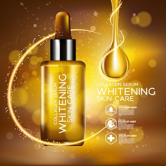 Maquete de design de embalagem, gota de ouro de soro para conceito de beleza e cosméticos