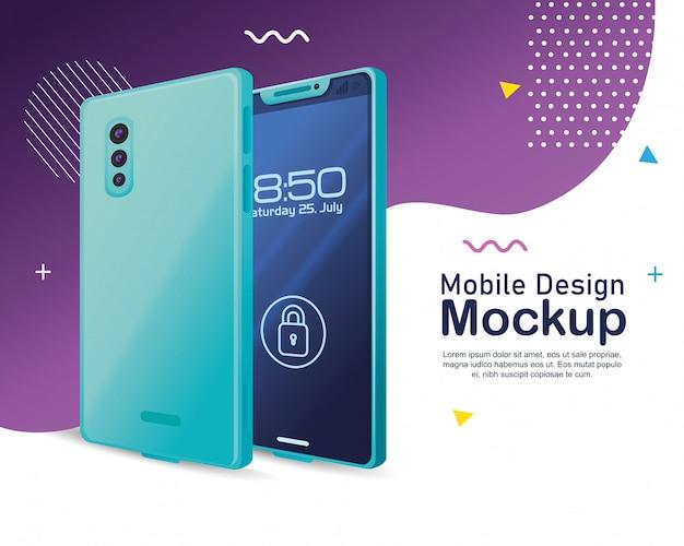 Maquete de design móvel de pôster, maquete realista de smartphone com cadeado de segurança