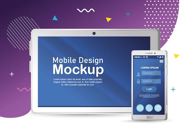 Maquete de design móvel de pôster, maquete realista de smartphone e tablet