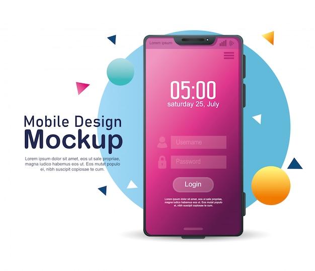 Maquete de design móvel de pôster, smartphone realista com login, usuário e senha na tela