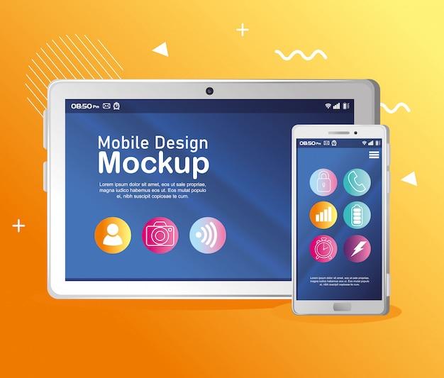 Maquete de design móvel de pôster, tablet realista e maquete de smartphone