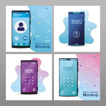 Maquete de design móvel de pôsteres, smartphones realistas