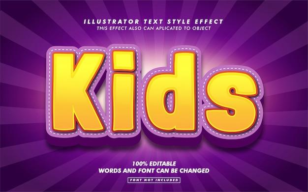 Maquete de efeito de estilo de texto de desenho de crianças
