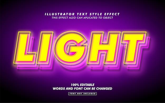 Maquete de efeito de estilo de texto de luz amarela