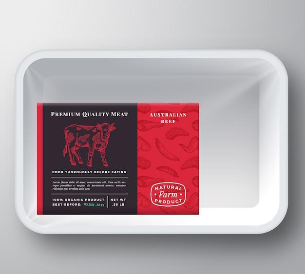 Maquete de embalagem de contêiner de bandeja de plástico de carne bovina