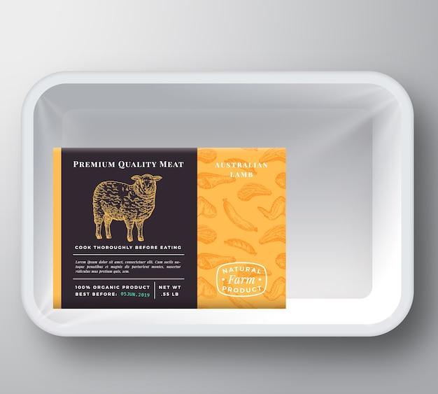 Maquete de embalagem de contêiner de bandeja de plástico para cordeiro