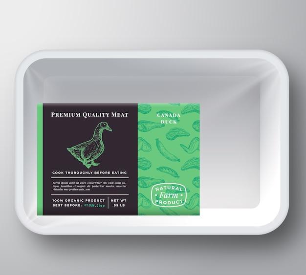 Maquete de embalagem de recipiente de bandeja de plástico de pato