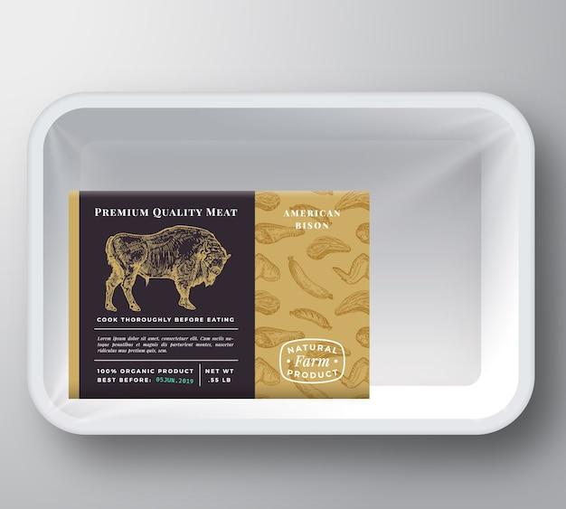 Maquete de embalagem do recipiente da bandeja de plástico bisonte