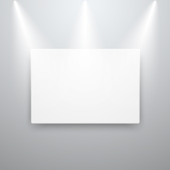 Maquete de exibição de lona na parede vazia com luzes do ponto
