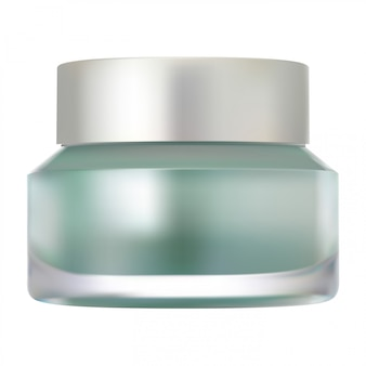 Maquete de frasco de creme de vidro, recipiente de vetor realista