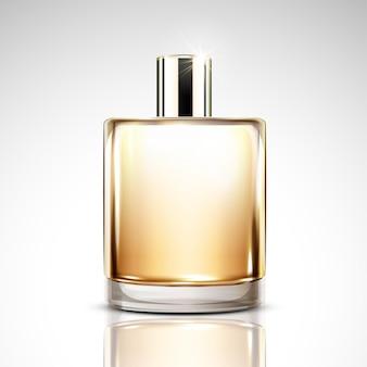 Maquete de frasco de perfume, frasco de vidro cosmético em branco na ilustração 3d