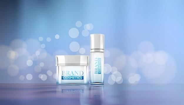 Maquete de frascos de cosméticos de pôster de produtos cosméticos de beleza com fundo bokeh e água