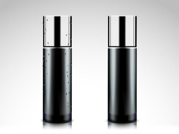 Maquete de frascos de cosméticos pretos, recipiente em branco na ilustração 3d