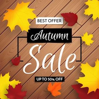 Maquete de fundo de venda outono decorar com folhas em fundo de madeira para venda ou cartaz promocional. oferta limitada de venda