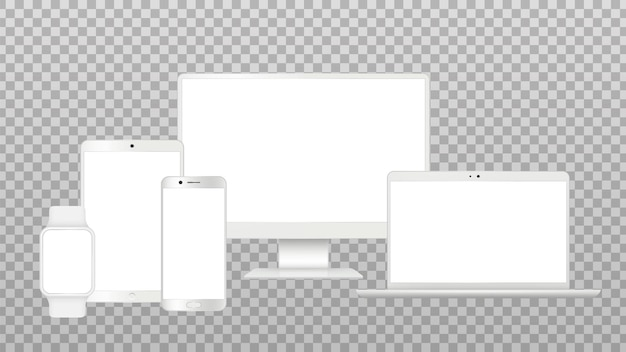 Maquete de gadgets realistas. tela de tv, modelos isolados de laptop smartphone. conjunto de vetores de dispositivos modernos brancos. ilustração de tela de laptop, notebook e touchpad do telefone