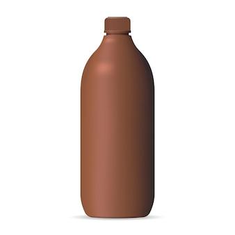 Maquete de garrafa cosmética de plástico marrom