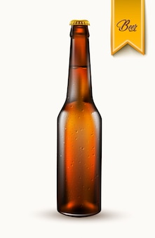 Maquete de garrafa de cerveja realista de vetor