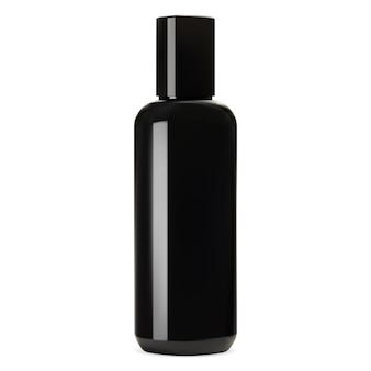 Maquete de garrafa de vidro preto brilhante.