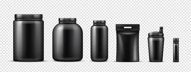 Maquete de garrafas pretas de proteína