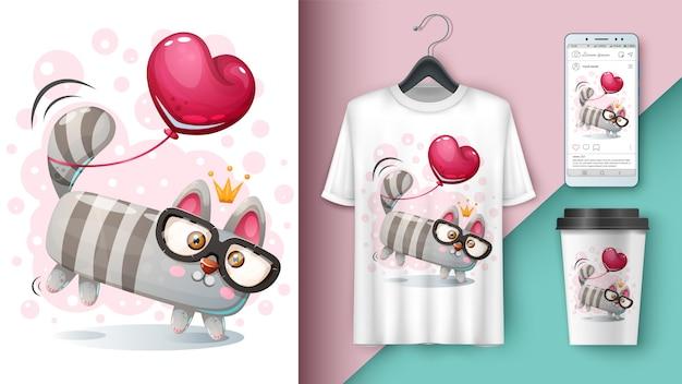 Maquete de gato e balão para sua ideia