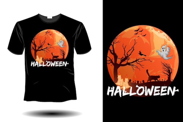 Maquete de halloween com design retro vintage