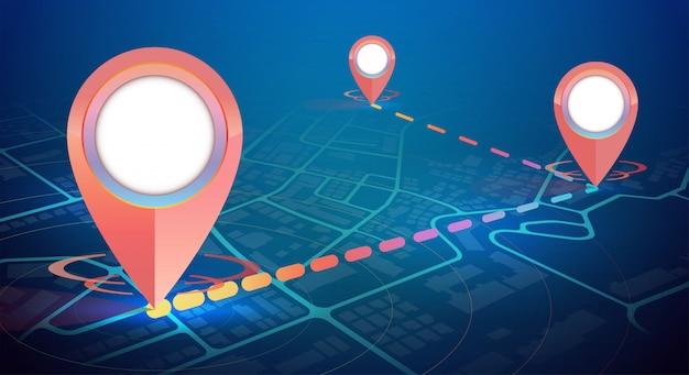 Maquete de ícone de gps no mapa da cidade 3 pontos conectar