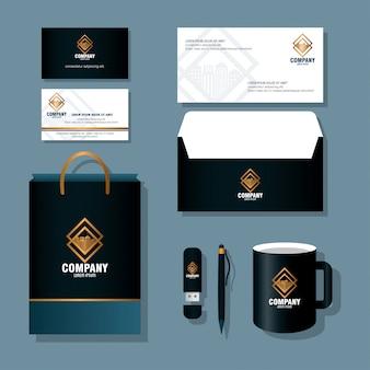 Maquete de identidade corporativa da marca, maquete de material de papelaria, cor preta com design de ilustração vetorial de sinal dourado