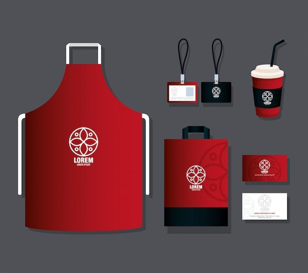 Maquete de identidade corporativa da marca, maquete de papelaria fornece cor vermelha com placa branca