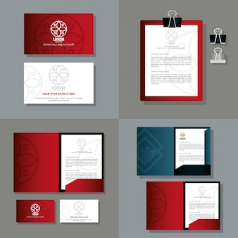 Maquete de identidade corporativa da marca, material de papelaria de maquete, cor vermelha com sinal branco