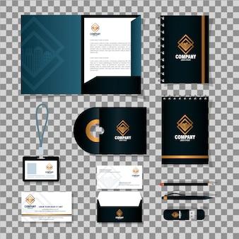 Maquete de identidade corporativa da marca, material de papelaria fornece cor preta com design de ilustração vetorial de sinal dourado