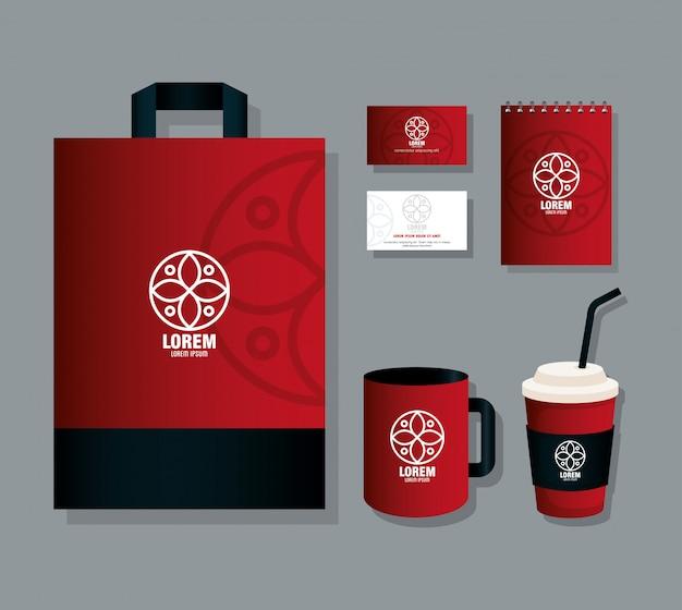 Maquete de identidade corporativa da marca, suprimentos de papelaria de maquete, cor vermelha
