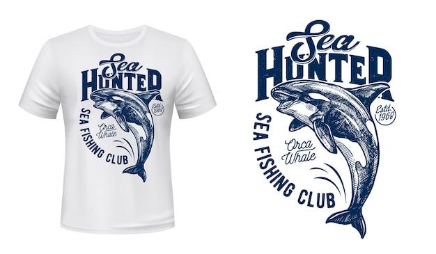 Maquete de impressão de baleia assassina de t-shirt de clube de pesca