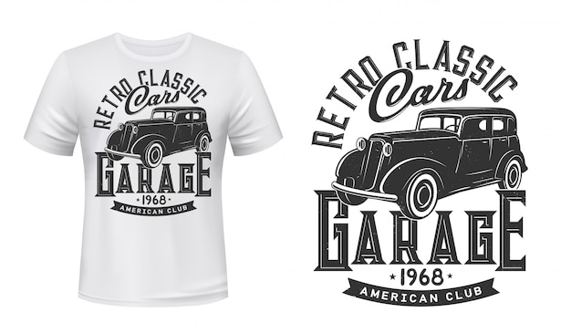 Maquete de impressão de carros antigos garagem t-shirt