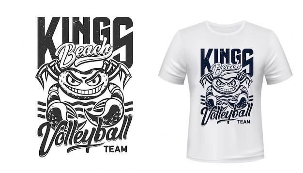Maquete de impressão de t-shirt de caranguejo, clube de esporte de voleibol
