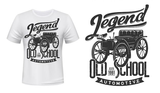 Maquete de impressão de t-shirt de carros antigos, automóvel retrô