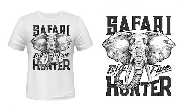 Maquete de impressão de t-shirt de elefante de caça de safari