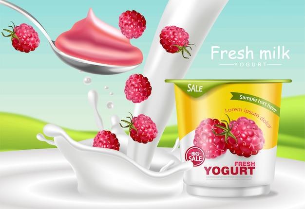 Maquete de iogurte de framboesa