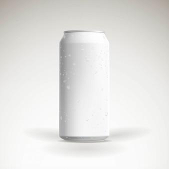 Maquete de lata de cerveja fotorrealista vector com gotas de água