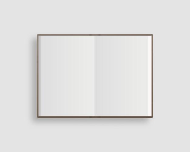 Maquete de livro, revista e caderno aberta em branco com sombra suave