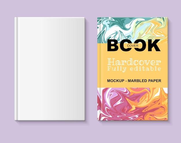 Maquete de livro totalmente editável capa do livro com papel marmorizado de várias cores
