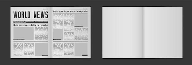 Maquete de manchete de jornal. página de título de jornais financeiros de tablóide de notícias de negócios e ilustração vetorial de jornal diário Vetor Premium