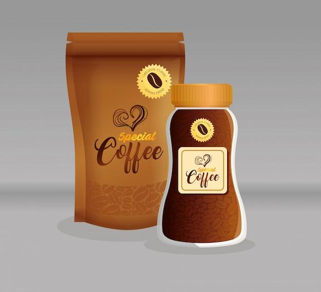 Maquete de marca de café, restaurante, maquete de identidade corporativa, garrafa de vidro e zíper de saco de café especial