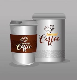 Maquete de marca de café, restaurante, maquete de identidade corporativa, garrafa e café especial descartável