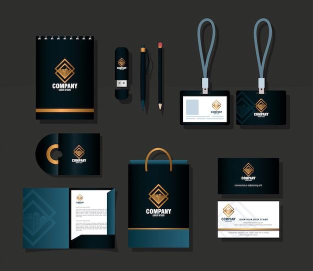 Maquete de marca de identidade corporativa, maquete de material de escritório fornece cor preta com sinal dourado