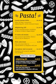 Maquete de menu de massas italianas vintage. modelo de menu, ilustração do menu do restaurante italiano