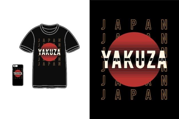 Maquete de mercadoria de camiseta da yakuza no japão